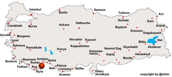 Karte Von Turkische Riviera Region In Turkei Welt Atlas De