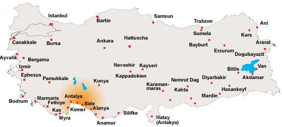 Türkische Riviera Karte.Türkische Riviera